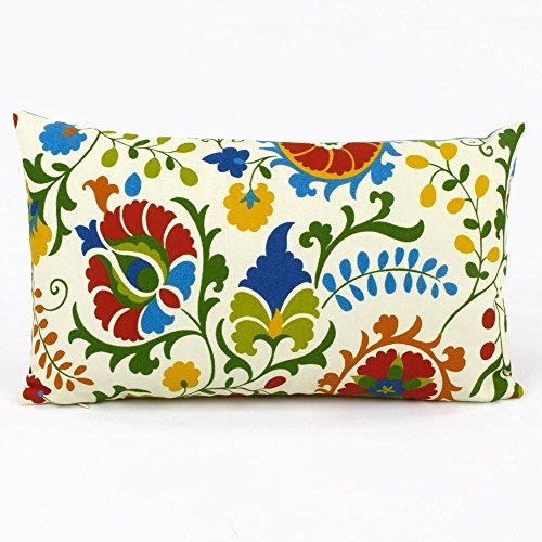 """Floral Pop Tropical and Stripes Outdoor Decorative Handmade Lumbar Pillow Cover, 12x20"""", Reversible, Multicolor, Chloe & Olive"""