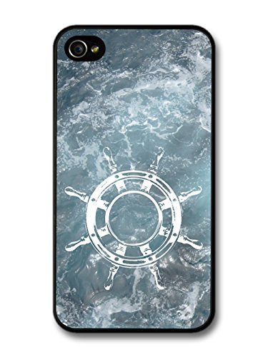 White Ship Steering Wheel on Ocean Background Hipster Travel Adventure coque pour iPhone 4 4S