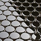 Penny Round Mirror Stainless Steel Metal Mosaic Tile For Backsplash Wall (Box of 5 Sheets $119)