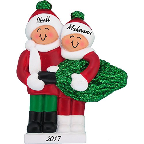 Personalized Ornament Tree Christmas (Buying A Christmas Tree Personalized Christmas Ornament (Family of 2) - Couple's 1st Christmas - Handpainted Resin - 4