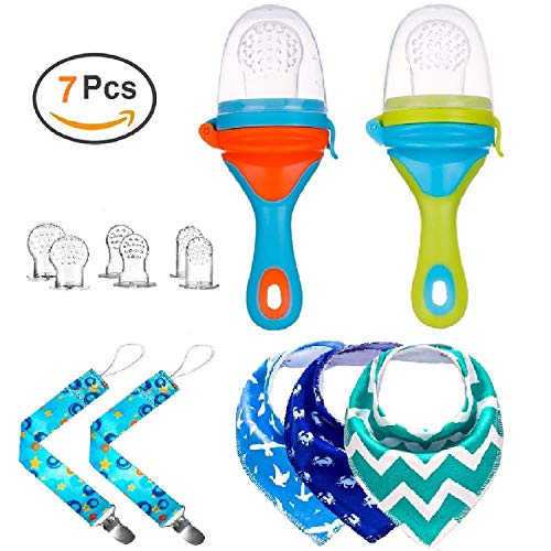Gedebey Pacifier Clip, Baby Bibs, Baby Food Feeder, Fresh Fruit Teether for Boy and Girl, 2 Pack - Pacifiers Clips, 2 Pack - New Design Feeders, 3 Pack - Bandana Bib, 6 Different Sized Teething Meshes from Gedebey