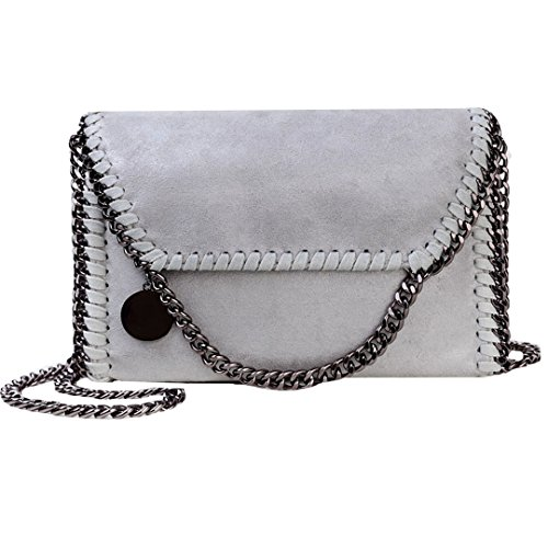 Felice Women Flap Chain Clutch Handbags Purse Stylish Metal Chain Shoulder Crossbody Bag ()