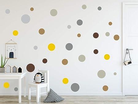 grande collection vif et grand en style authentique Timalo® 73078 Lot de 120 stickers muraux pour chambre d'enfant Motif  cercles pastel - Lot de 120 - Set10