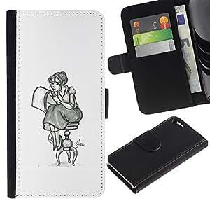 All Phone Most Case / Oferta Especial Cáscara Funda de cuero Monedero Cubierta de proteccion Caso / Wallet Case for Apple Iphone 5 / 5S // Girl Artist Art Drawing Pencil Sitting Long Skirt