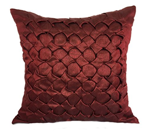The White Petals Set of 2 Burgundy Textured Euro Sham Covers with Smocking Details Burgundy European Sham Covers in Solid Color (26x26 inches, Burgundy, Set of 2 Pillow Covers)