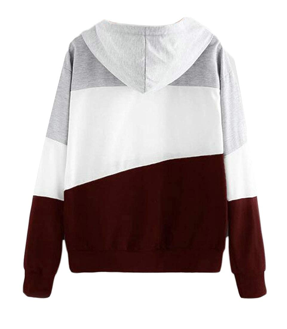 Sweatwater Womens Stylish Pullover Contrast Colors Hoodie Drawstring Sweatshirts