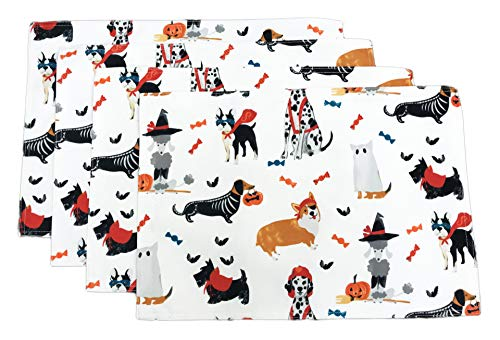 Cynthia Rowley Curious Happy Halloween Festive Dogs in Costume Set of Four Water Resistant Placemats 13