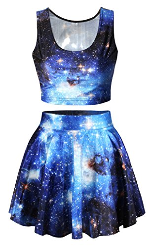 Blue Galaxy Printed Reversible Tank Tops Tees High Waisted Skirt Set for Junior -