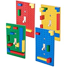 Classic Light Switch Baseplate Covers by Strictly Briks   Building Bricks Base Plates   100% Compatible with All Major Brands   Unique Cover for Bedrooms & Play Rooms   4 Pack Blue, Green, Red, Yellow