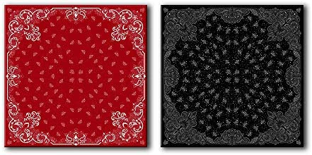 2 Panel Square Abstract Floral Patterns in Red and Black x 2 Panels
