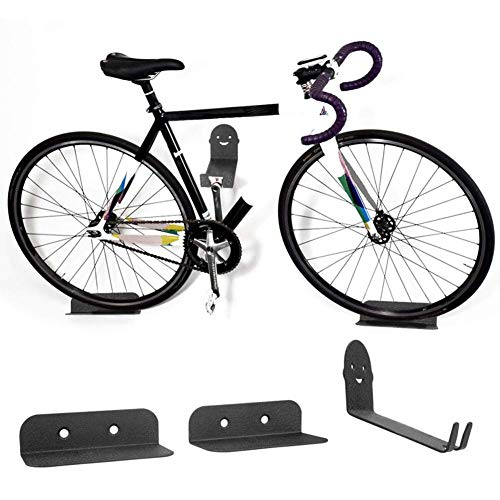 1Set  Black Bike Bicycle Cycling Pedal Tire Wall Mount Storage Hanger Stand Rack