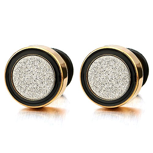 8-12MM Men Women Gold Black Stud Earring Steel Illusion Tunnel Plug with Silver Sand Glitter, 2pcs