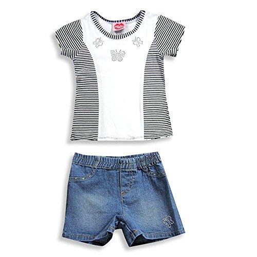 (Lipstik - Little Girls' Short Sleeve Jean Short Set, White, Black, Denim Blue)