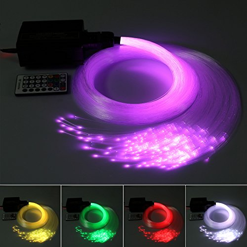 16W Fiber Optic Light Star Ceiling Kit, RGBW LED Color Changing Decoration Lighting, Engine Driver with 28 key RF Remote Control (310 pcs(0.03in+0.04in+0.08in)13ft + (Kit 28 Pcs Match)