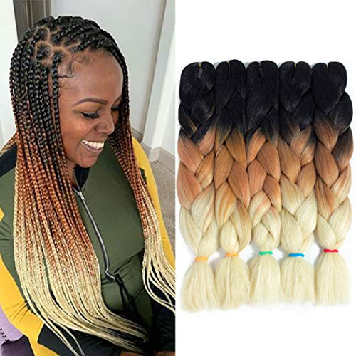 Jumbo Braiding Hair Crochet Braids 5Pcs Jumbo Box Braid Twsit Hair Ombre Braiding Hair Kanekalon Synthetic Crochet Hair Extensions (3 Tone Black-Brown-Beige, 24 Inch)