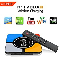 World First 2018 New Android TV Box 8.1 with Wireless Charging,4GB+32GB Quad Core 64 Bits Processor 3D 4K H265 Smart Set Top Box…