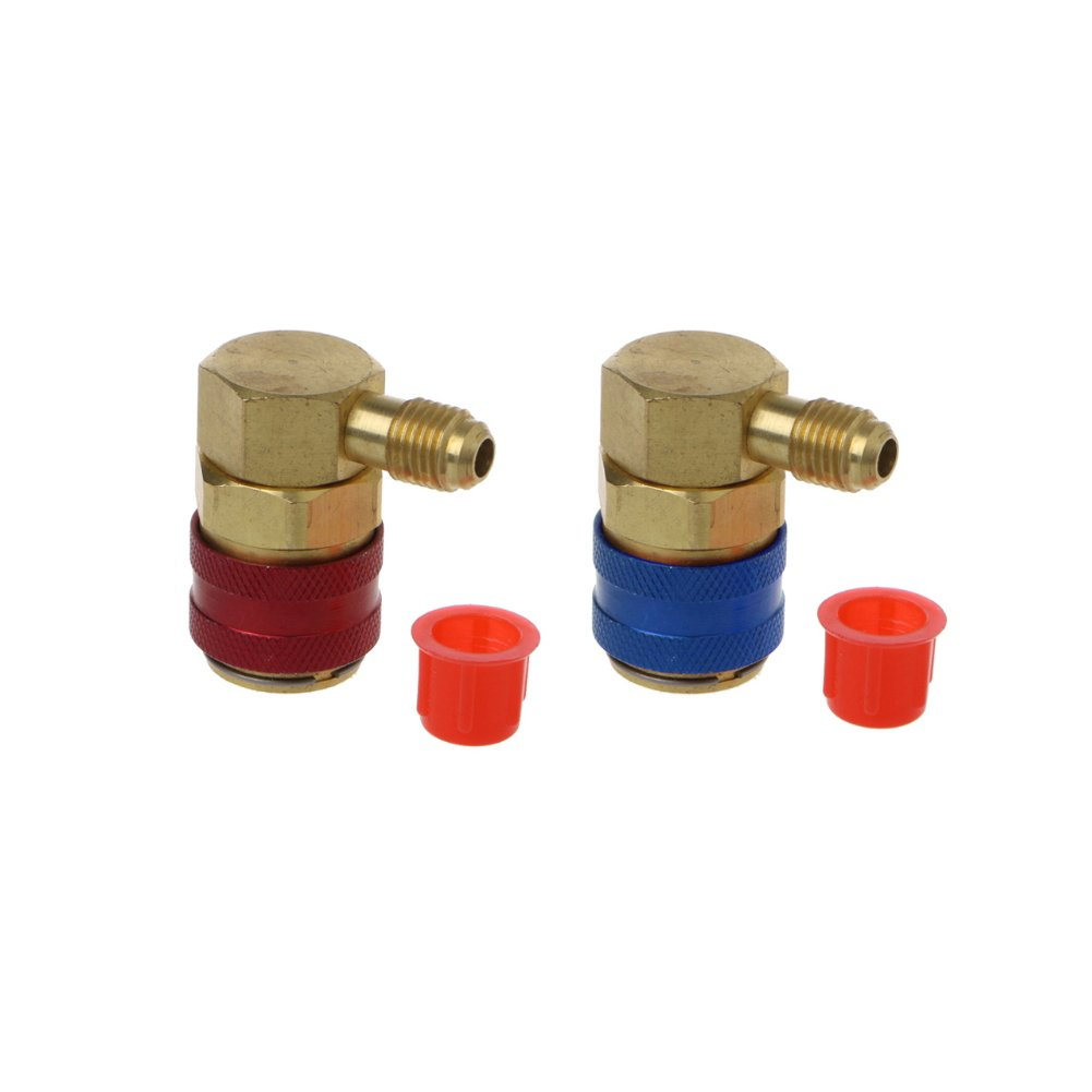 2PCS AC R134A Quick Connector Adapter Coupler Auto A/C Manifold Gauge Low/High HVAC Auto Air-Conditioning High/Low Pressure Side Automarketbiz