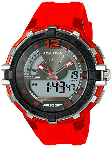 瞑想的恐竜立ち向かうArmitron Sport Men 's 20 / 5134redアナログデジタルクロノグラフレッドResin Strap Watch