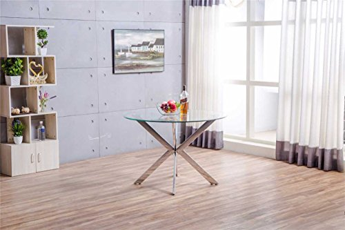 Venice Chrome Metal Round Circular Glass Dining Table And 4 Dining Chairs Seats (Table Only)