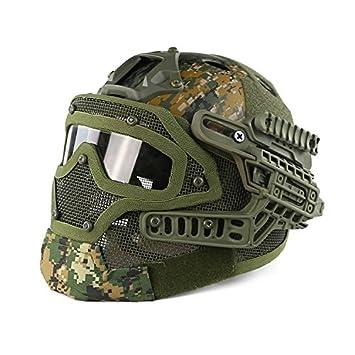 haoyk PJ tipo Tactical Airsoft casco Fast con gafas protectoras y máscara de cara completa de malla, negro