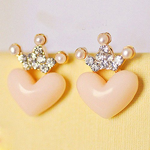 1Pair Fashion Women Austrian Crystal Crown Pink or Pearl Heart Earrings Princess Austrian Crystal Belly Ring