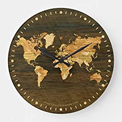 Moonluna Rustic Wooden World Map Wooden Clock for Walls Decoration Round Nursery Wall Clock for Kids Room 10 inches
