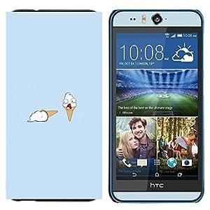 KLONGSHOP // Cubierta de piel con cierre a presión Shell trasero duro de goma Protección Caso - Helado Asesinato divertido - HTC Desire Eye M910x //