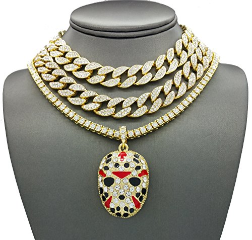 Shiny Jewelers USA Mens Iced Out Rapper Mask Hip Hop Pendant 1 Row CZ Tennis Miami Cuban Link Chain Necklace (2 CZ Cuban/1 Row Gold 17''+18''+20'') by Shiny Jewelers USA