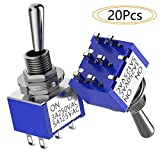 DIYhz 20Pcs Toggle Switch AC 5A/125V 3A/250V 6 Pin Terminals On/On 2 Position SPDT Toggle Switch Mini Miniature Toggle Switch Car Dash Dashboard
