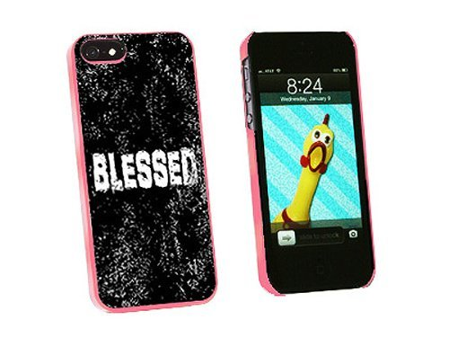 Graphics and More Blessed Distressed Christian Religious Inspirational Snap-On Hard Protective Case for iPhone 5/5s - Non-Retail Packaging - Pink