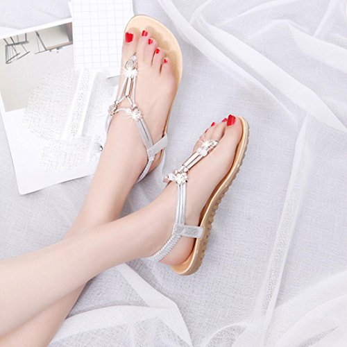Ouneed® Damen Sandalen ,Frauen Sommer Sandalen Böhmen Ankle-Strap Flops Sommer Flache Schuhe Damen Indoor and Outdoor Schuhe Silber