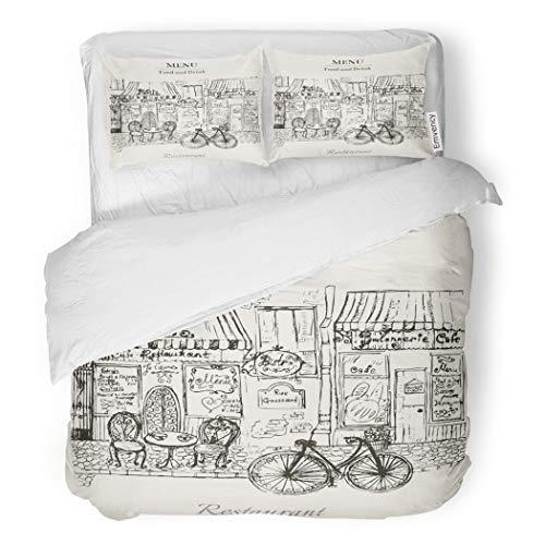 SanChic Duvet Cover Set French Vintage Paris Cafe Bistro Restaurant Engraving Retro Decorative Bedding Set with Pillow Case Twin Size