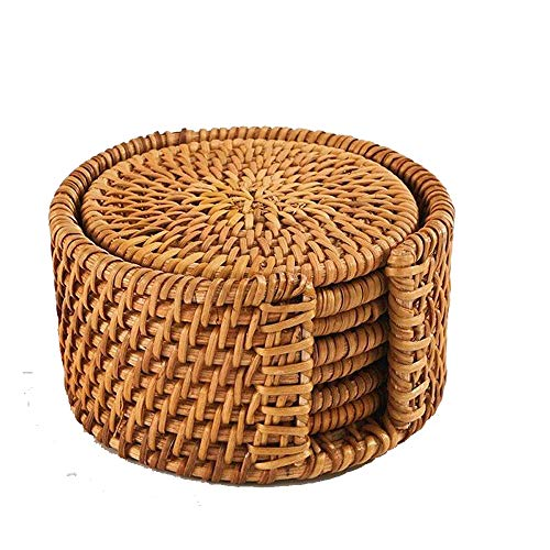 (Yunnan Plateau 7pc Natural Bamboo Coaster Placemat Round Braided Rattan Tablemats)