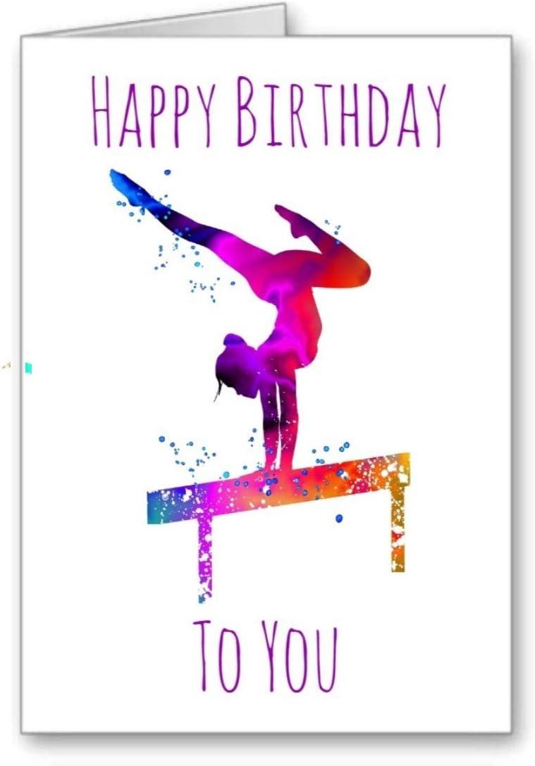 Gymnast Gymnastics Birthday Card Happy Birthday Girl Balance Beam