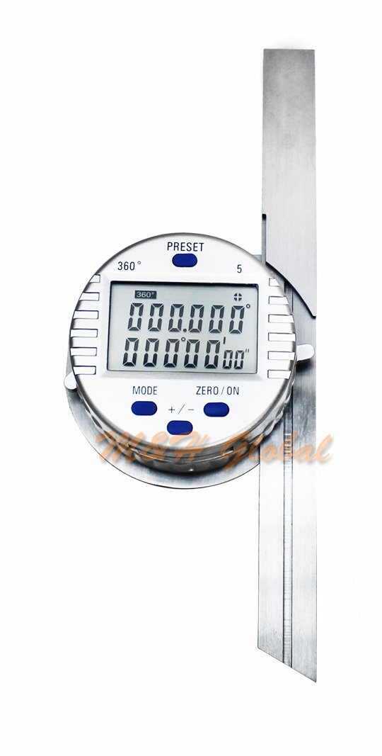Universal Digital Electric Protractor Stainless Steel 6'' 12'' Blade 0-360 Degree.