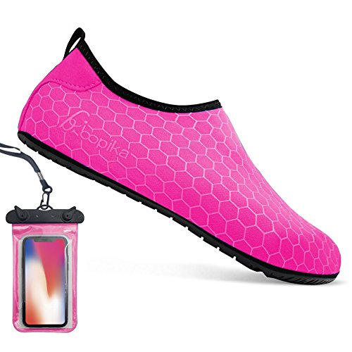 Barefoot Shoes Water Sports Shoes Quick-Dry Aqua Yoga Socks for Women Men Kids (L: (Women:9.5-10.5/Men:7.5-8), FC-hot Pink)