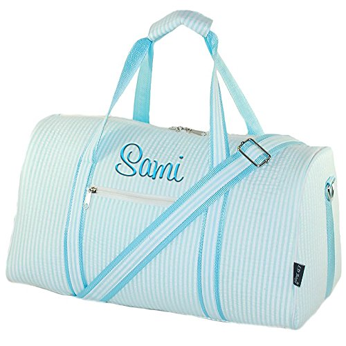 Aqua Seersucker - Personalized Aqua Seersucker Overnight Duffle Bag 17.5