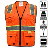RK Safety P6611 Class 2 High Visible Two Tone Reflective Strips Breathable Mesh Vest, Pockets Harness D-Ring Pass Thru, ANSI/ISEA, Construction Motorcycle Traffic Emergency (Neon Orange, Large)