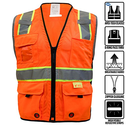 RK Safety P6611 Class 2 High Visible Two Tone Reflective Strips Breathable Mesh Vest, (Neon Orange, 5XL)