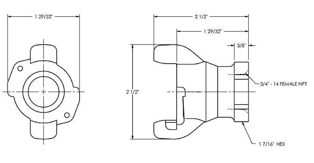 3//4 NPT Female End Dixon Air King AM8 Iron Air Hose Fitting Universal Coupling