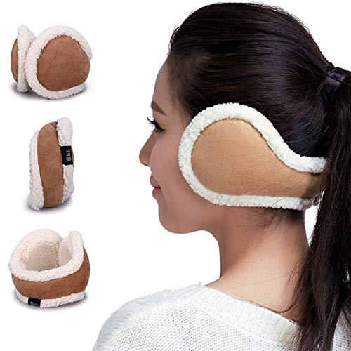 Women Ear Warmers Foldable Cold Winter Adjustable EarMuffs Girls Warm Outdoor Ear Muffs (Brown)