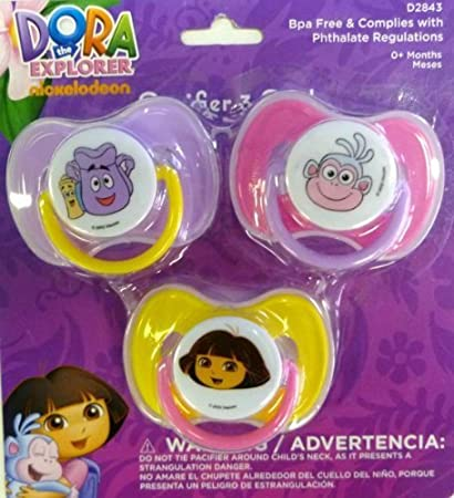 Amazon.com : Dora the Explorer 3-pack Baby Pacifiers by Baby King : Baby