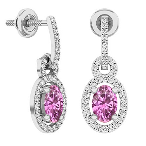 Dazzlingrock Collection 10K 6X4 MM Oval Pink Sapphire & Round White Diamond Ladies Dangling Drop Earrings, White Gold