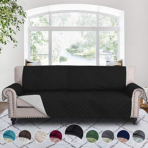 (RHF Reversible Cover for Extra-Wide Couch, Sofa Cover, Extra-Wide Couch Cover for Dogs, Extra-Wide Couch Covers for Pets, Couch Slipcover, Machine Washable (Sofa-Extra Wide: Black/Gray))