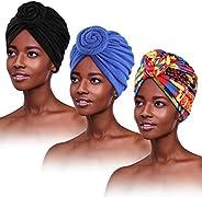 PHOGARY 3 Packs African Turbans Pre-Tied Knot Beanie Headwrap Hats Bonnet Caps for Women