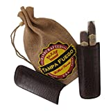 Tampa Fuego Cigar Case Crocodile Grain Leather Brown Two Finger Made in USA