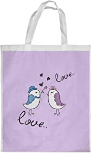 love birds Printed Shopping bag, Medium Size