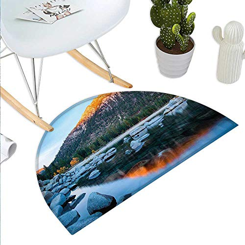 Lake Tahoe Semicircle Doormat Rocks in a Lake Photo North American Landscape Sierra Nevada California USA Halfmoon doormats H 31.5
