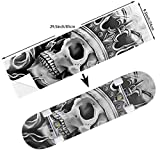 STREET FFX Fashion Funny Skateboard Cruiser Deck and Balance Board Stickers Decals Grip Tape - 9.5 x 33.5 Inches - Cool Skull with Crown