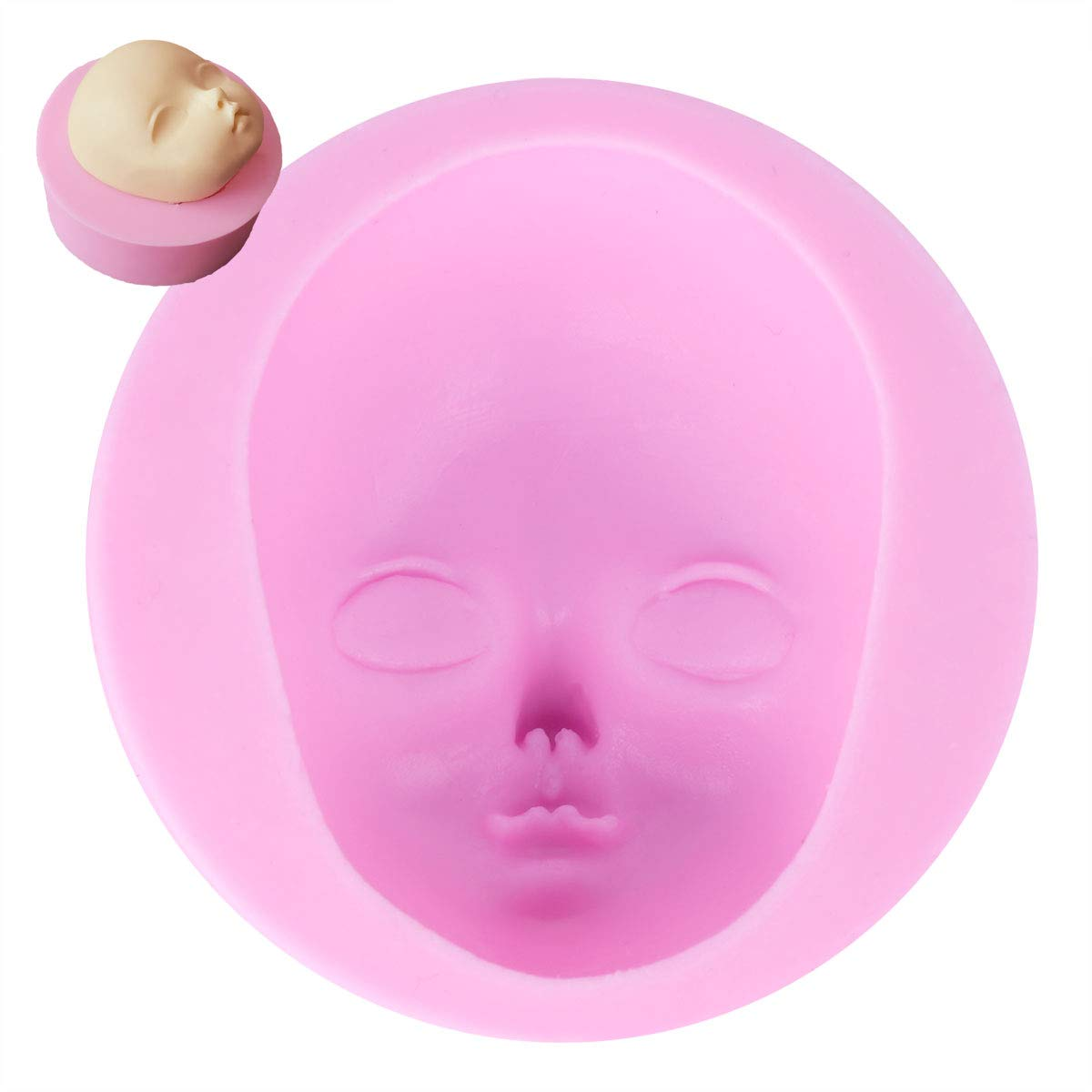 Freebily Cute 3D Dolls Face Silicone Cake Decorative Fondant Mold Sugarcraft Handmade Polymer Clay Mould Chocolate Candy Baking Tools